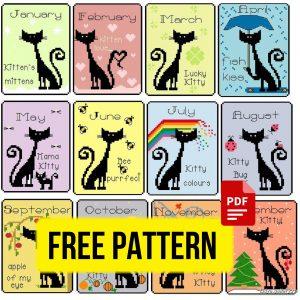 Cats' Calendar - Free Funny Cross Stitch Pattern Printable