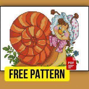 """Cute Snail"" - Free Cross Stitch Pattern PDF XSD Printable"