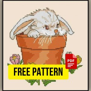 """A Rabbit and Crocuses"" Free Printable Cross Stitch Pattern"