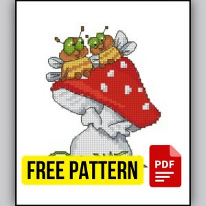 """""""Fly Agaric and Bees"""" - Free Printable Cross Stitch Pattern"""