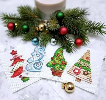 """""""Christmas Trees Magnets"""" Small Cross Stitch Kit Beginners"""
