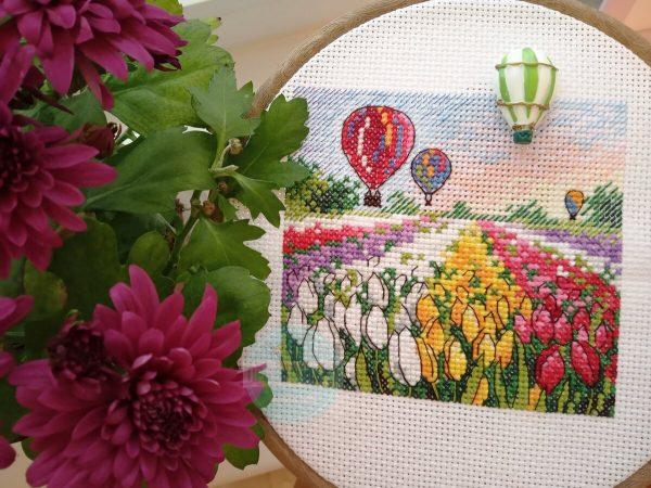 """Holland tulips"" Small Cross Stitch Kit Landscape Flowers"
