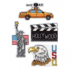 """""""USA Magnets"""" Small Cross Stitch Kit Countries Cities"""