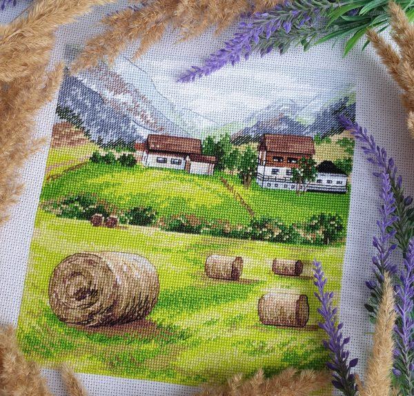"""""""Tuscany"""" Small Cross Stitch Kit Landscape Nature Green"""