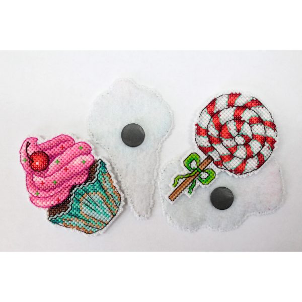 """""""Sweets Magnets"""" Easy Cross Stitch Kit Food Candies Starter"""
