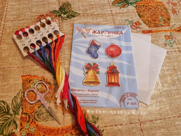 """""""Christmas New Year Magnets"""" Small Cross Stitch Kit Beginners"""
