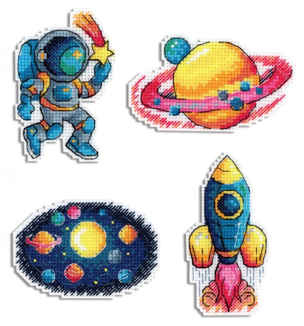 """""""Space. Magnets"""" Small Cross Stitch Kit for Beginners Nature"""