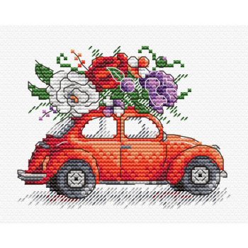 """""""Travel to Paris"""" Small Cross Stitch Kit with Car & Flowers"""