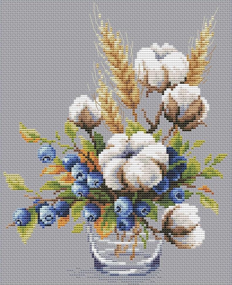 """Cotton and blueberries"" - FREE Cross Stitch PDF Pattern"