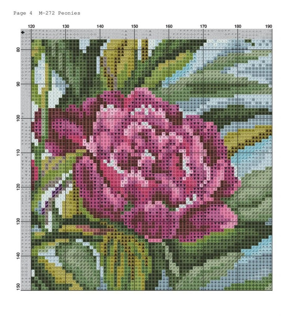 Free Printable PDF Cross Stitch Pattern with Peonies Download