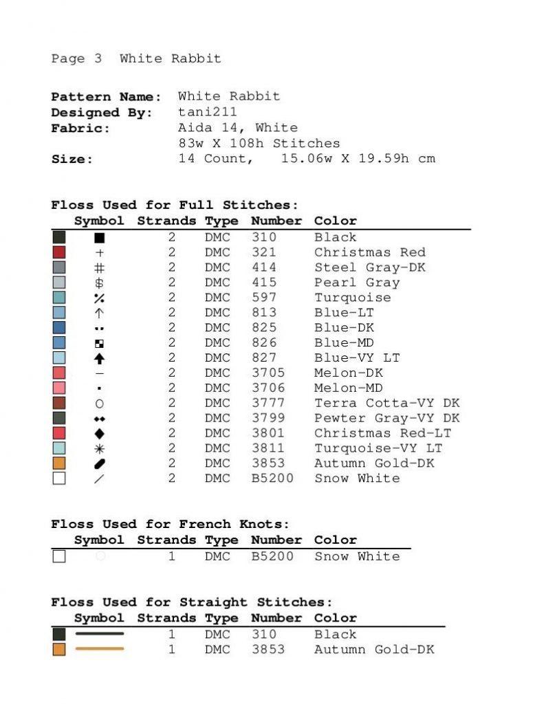 """""""White Rabbit"""" - Free PDF Cross Stitch Pattern Animals"""