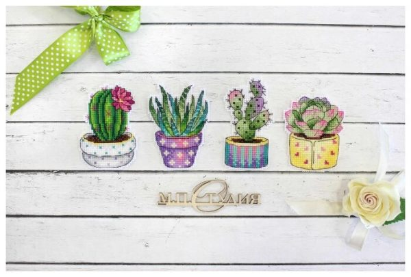 """""""Cactus Magnets"""" Small Cross Stitch Kit Plants Flowers"""