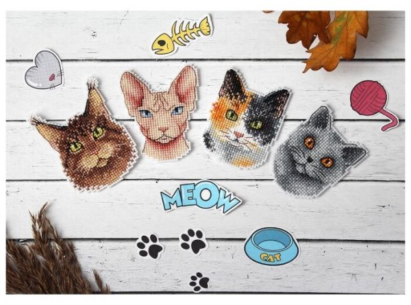 """""""Cats. Who says Meow"""" Small Cross Stitch Kit for Beginners"""