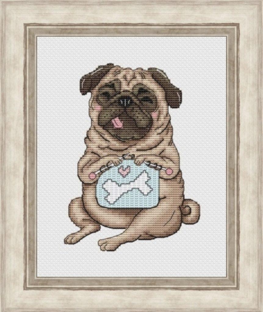 """""""Knitting Pug"""" - Funny Free Cross Stitch Pattern Dog PDF"""