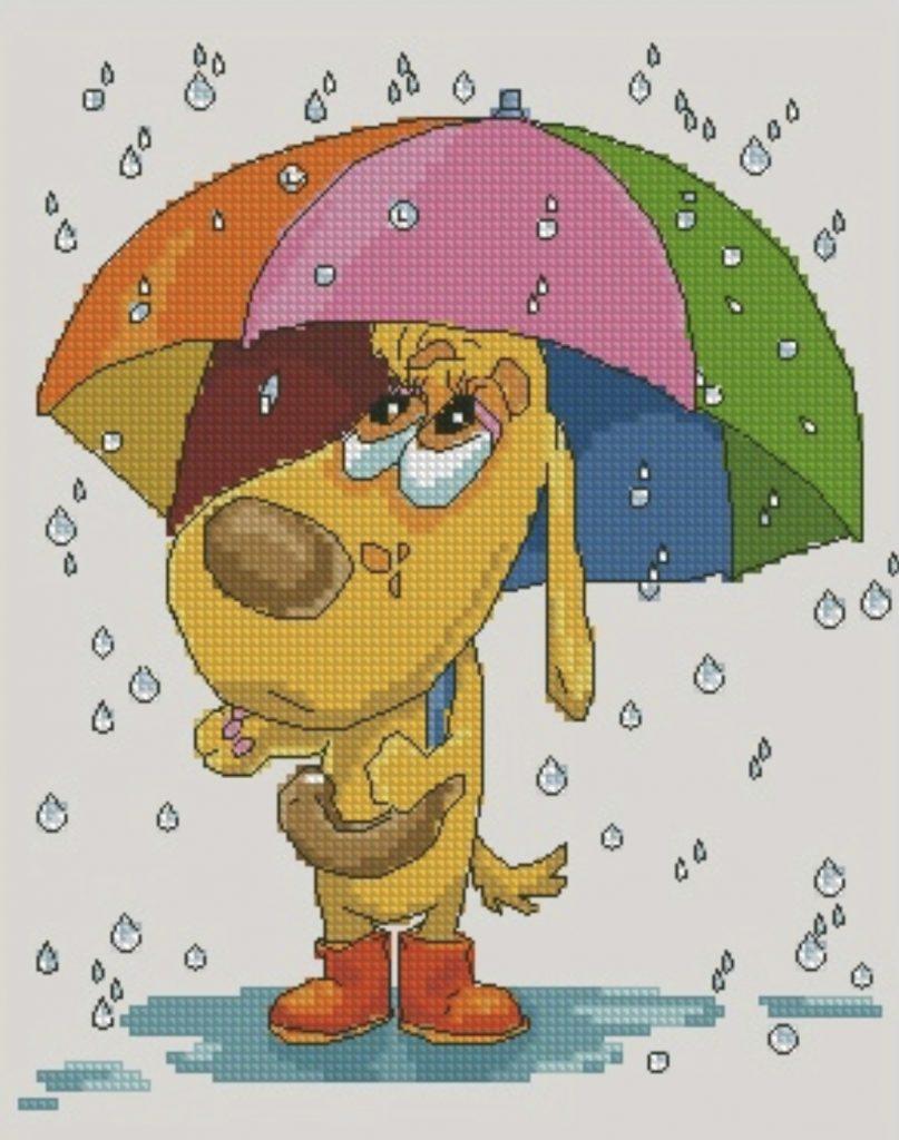 """""""Rainy day"""" - Free Cross Stitch Pattern PDF Download Dog"""