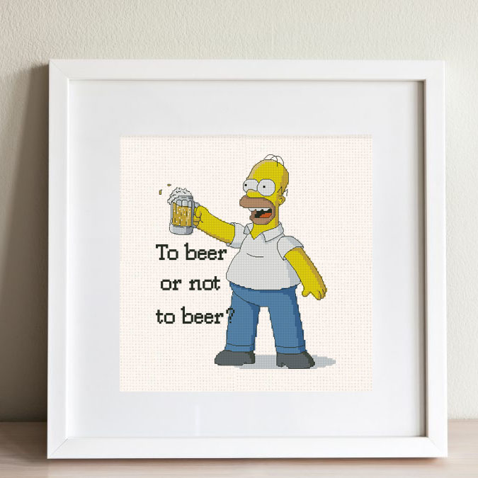 """Homer Simpson"" - Free Cross Stitch Pattern PDF Beer"