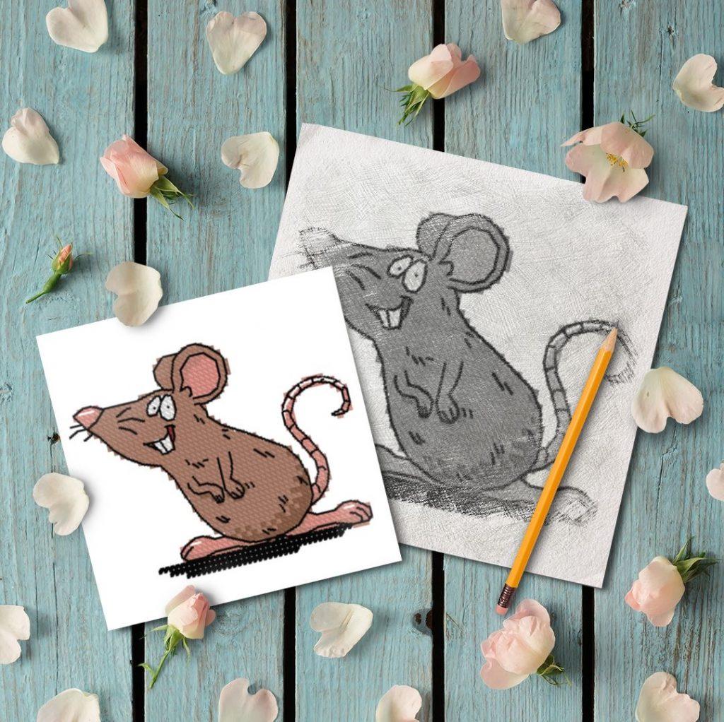 """Brown mouse"" - free cross stitch pattern"