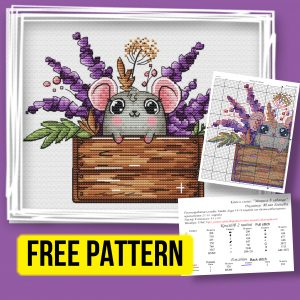 """""""Mouse with Lavender"""" - Free Cross Stitch Pattern Animals"""
